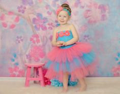 Newborn Size 9 Turquoise and Coral Layered Tutu by krystalhylton