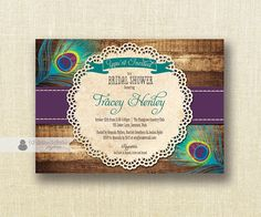 Peacock Bridal Shower Invitation Shabby Chic plum purple and turquoise teal peacock feather rustic invitation with wood and lace doily background by digibuddhaPaperie, $20.00