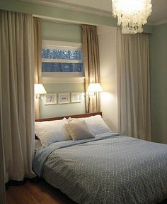 Love the idea of curtains for 'doors' especially flanking the bed.