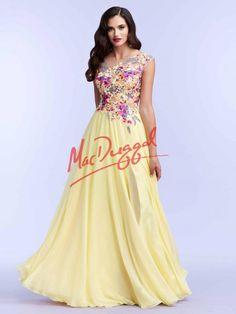 Lemon Yellow Prom Dress | Floral Prom Dress | Mac Duggal 85436M