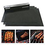 WAREUM Set of 3 Non Stick Heavy Duty Barbecue Grill Mats for Charcoal, Gas & Electric Grills, Perfect Your BBQ, Easy to Clean and Reusable Grill Mat, High Quality Material