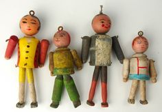 Vintage 1920s German Carved Wood Christmas Tree Doll Ornaments Bauhaus Style | eBay