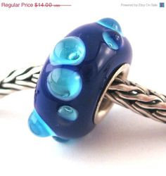 ON SALE SRA artist handmade euro big hole - lampwork glass bead - lined with Sterling Silver - Made To Order - S367