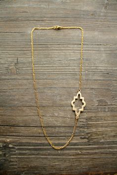 Silver or Gold Asymmetrical Necklace Geometric Design by Montrigue