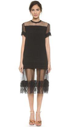 Rochas Lace Trim Linen Dress