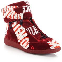Maison Margiela Future Hi-Top Embroidered Wool Blend Sneakers : Maison... ($2,075) ❤ liked on Polyvore featuring men's fashion, men's shoes, men's sneakers, apparel & accessories, red, maison margiela mens shoes, mens velcro sneakers, mens high top shoes, mens velcro high top sneakers and mens red shoes