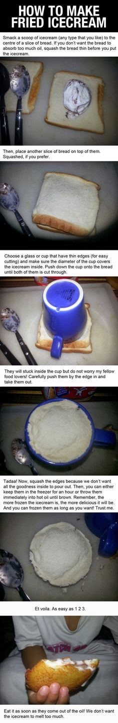 Funny pictures about How To Make Fried Ice Cream. Oh, and cool pics about How To Make Fried Ice Cream. Also, How To Make Fried Ice Cream photos. Ice Cream Desserts, Frozen Desserts, Ice Cream Recipes, Frozen Treats, Just Desserts, Delicious Desserts, Yummy Food, Unique Desserts, Comida Diy