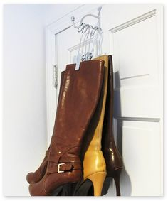 Shoe organization. Open up space in your closet! The Boot Valet hooks over any standard door and has the space to perfectly hold up to three pairs of boots (The Boot Hanger sold separately).