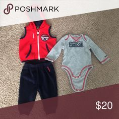 Baby boy Reebok 3 piece set Navy blue, gray, and red pants, long sleeve onesie, and hooded vest Reebok Matching Sets