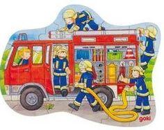 J'adore Paris Puzzle en Bois Nature Camion de Pompiers