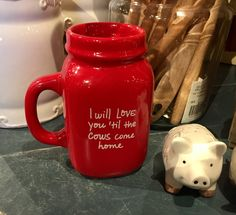 """I will love you til the cows come home"" Red Mason Jar Style Mug/Cracker Barrel Old Country Store"