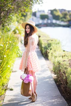 Cute summer outfit pink fit and flare dress and sun hat by Los Angeles fashion blogger M Loves M @marmar