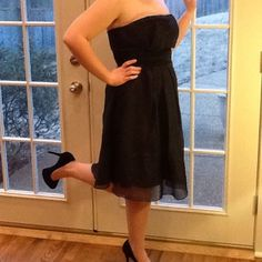 Black prom dress. White House black market. Size 8 black prom or formal dress. Fitted bodice with black tulle skirt. Only worn once. White House Black Market Dresses