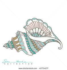 Explore high-quality, royalty-free stock images and photos by Helen Lane available for purchase at Shutterstock. Mandala Painting, Fabric Painting, Painting & Drawing, Drawing Journal, Drawing Sketches, Art Drawings, Seashell Tattoos, Seashell Art, Ocean Drawing
