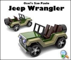"Plan Set Description: Jeep is 3-1/4"" W x 2-3/4"" H x 5-3/4"" L. Wheels are easily made with a scroll saw. Same scale as Osni's Hot Rod VW Bug. Download Osni's free Jeep Wrangler photo gallery here. Color 8-1/2"" x 11"" pages with black & white pattern pages"