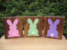 These are so cute and fun, you will love these!!! Add the Bunny Blocks to your mantle, shelves or table to brighten your space.  These blocks are hand painted. There is NO VINYL or STICKERS used on these blocks. I make them so you can enjoy them for a very long time!  Measurements: Individual: 4x 3.5.  The first picture is stained in Dark Walnut Stain. The second picture is stained in Provincial Stain. You can choose another stain from the last picture that gives you one more stain color…