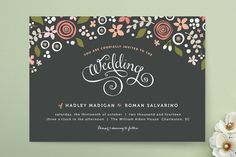 Midnight Fete Wedding Invitations by Jennifer Wick at minted.com but i would want to customize the colors on the grey background