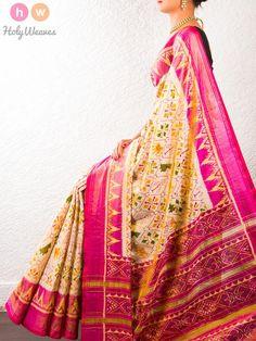 #Cream #Handwoven #Katan #Silk #Tissue #Patola #Saree #HolyWeaves
