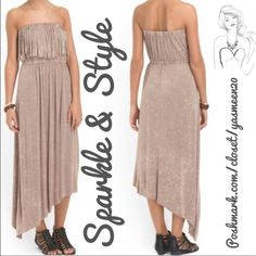Tube top maxi dress Beautiful beige tube top maxi dress with side hi/lo bottom and fringe detailed bust. Dresses Maxi
