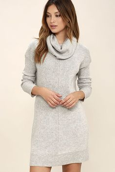 With the Tea Reader Light Grey Sweater Dress, we see a day of snuggling up fireside in your future! Soft, medium-weight knit offers a cozy fit with a cowl neck and long, fitted sleeves. Relaxed bodice falls effortlessly to a ribbed hem.