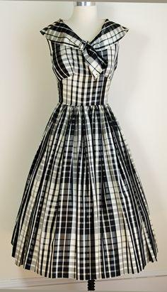 1950s black and white plaid taffeta party dress