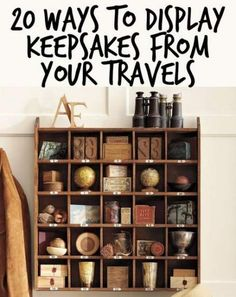 20 ways to display keepsakes from your travels and trips travel room themes, travel room Travel Theme Decor, Travel Themes, Vintage Travel Decor, Travel Theme Rooms, Travel Decorations, Travel Ideas, Souvenir Display, Souvenir Ideas, Travel Crafts