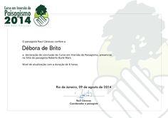 Certificado de conclusão de Curso de Imersão em Paisagismo de Debora Brito
