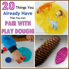20 things from around the house that you can pair with play dough. Lot's of ideas for 18+ month toddlers and preschoolers. Frugal fun!