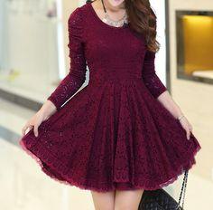 Round neck long-sleeved lace princess dress SF31106JL