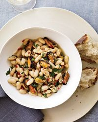 Try this Mussel and White Bean Stew recipe or find other great recipes for any meal at Kitchen Daily Food Network Recipes, Cooking Recipes, Healthy Recipes, Delicious Recipes, Clams Casino, Seafood Stew, Bean Stew, Seafood Recipes, Mussel Recipes