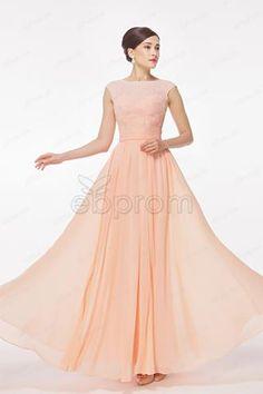 cap sleeves Peach prom dresses bridesmaid dresses