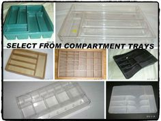 Storage-Organizer Compartment Trays have many other uses: can be used in: Office Desk/Drawer, Bedroom Dresser, Bathroom Bath Vanity Valet Table, Kitchen Counter/Cabinet, Linen Closet/Pantry  Shelf.  can be used to hold: Hair/Makeup/Nail Accessories, Desk Accessories, Craft Supplies/tools, Miniature Toys and Gadgets, Junque [Junk] - Kitchen Cutlery, Flatware, Utensils. [MsFrugaLady on eBay, Listing ends 3/31/2014]