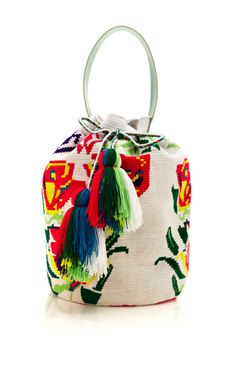 This Sophie Anderson floral hand-woven bucket bag features a white leather shoulder strap and drawstring closure with large tassel cotton, leatherUnlinedImportedPlease note: Please note: This item is Final Sale. Tapestry Bag, Tapestry Crochet, Boho Hippie, Bohemian, My Bags, Purses And Bags, The Things They Carried, Sophie Anderson, Potli Bags