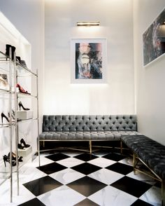 Interior design photographer Patrick Cline shares portfolio tips. Share Portfolio, Checkerboard Floor, Photographer Portfolio, Space Interiors, Velvet Color, Retail Space, Beautiful Space, House Design, Colours