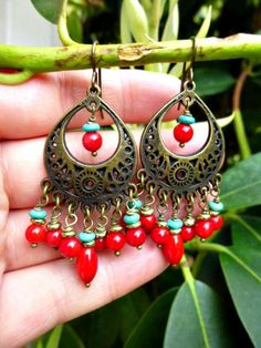 Red coral, turquoise, brass, bronze earrings. Chandelier, dangle, boho jewelry