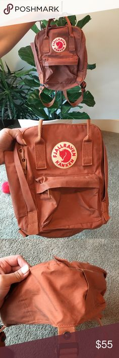 Fjallraven Kanken Mini Backpack Super cute mini Fjallraven backpack in the color brick. Has been used a handful of times but is in great condition! This color is so cute but I'm moving and need to sell everything. Retailed for $70+tax and shipping do trying to not lose too much. No trades💓 Fjallraven Bags Backpacks