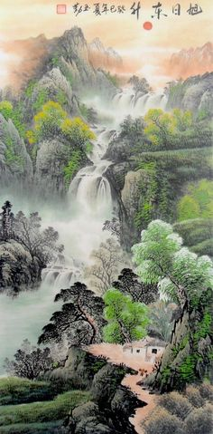 Rising Sun Village in Autumn Landscape Abstract art Chinese Ink Brush Painting, 138*68cm Chinese wall scroll painting Freehand brush work Feng shui paintings Artist original works of handwriting Rice paper Traditional art painting. USD $ 241.00