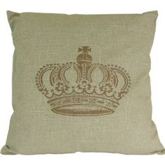 Square Fabric Linen Style Pillow with Crown Motif