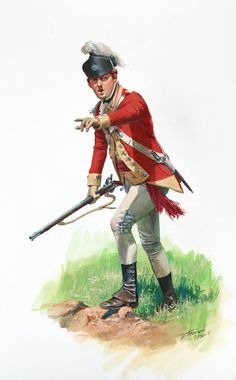 American Revolution: A young British officer of the 62nd Regiment of Foot , as he would have appeared during the Saratoga Campaign of 1777. His arms consist of a short light fusil (fuzee) with a bayonet, no sword.   Don Troiani Historical Artist