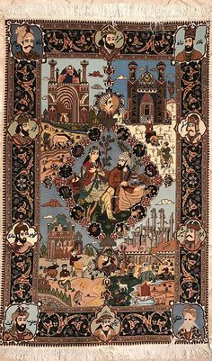 """Persian Tabriz Rug- One of the Pair. 61X39"""""""