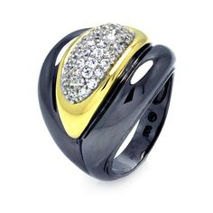 925 Sterling Silver Ladies Jewelry Black Rhodium 2 Toned Cubic Zirconia Center Ring: Size: 5