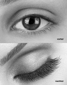 Wimpern Verdichtung&Verlängerung  LASHbeLONG Eye Lash Extensions werden in verschiedenen Längen und Biegungen, je nach gewünschtem Look, mit einem Spezialkleber einzeln auf die eigenen Wimpern appliziert. Das Ergebnis ist absolut natürlich, die Ansätze sind nicht sichtbar