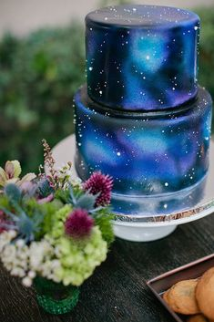 Serve a gorgeous galaxy cake. Serve a gorgeous galaxy cake. Pretty Cakes, Beautiful Cakes, Amazing Cakes, Bolo Tumblr, Airbrush Cake, Crazy Wedding Cakes, Blue Wedding Cakes, Dragon Wedding Cake, Star Wars Wedding Cake