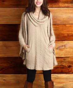 Love this Mocha Cable-Knit Convertible Poncho on #zulily! #zulilyfinds