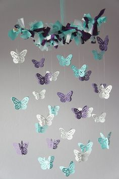 Butterfly mobile purple and teal
