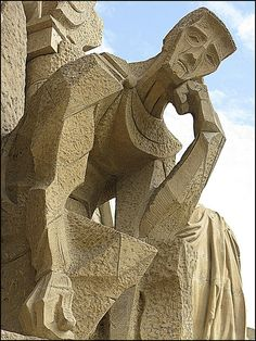 A figure on the Passion Facade, Sagrada Familia, Barcelona