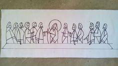 La última Cena Last Supper Art, The Last Supper Painting, Jesus Sketch, Jesus Drawings, Church Logo, Jesus Art, Amazing Drawings, Wire Art, Christian Art