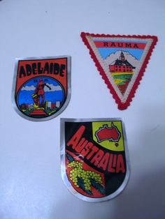 Travel Souvenir Sticker Decal Lot Adelaide Australia + Patch Rauma Finland
