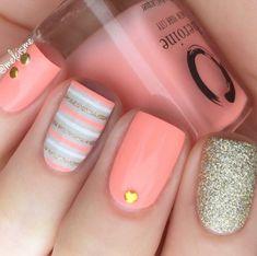 Pastel peach nail polish - peach please heroine.nyc summer c Summer Acrylic Nails, Best Acrylic Nails, Acrylic Nail Designs, Summer Nails, Coral Acrylic Nails, Striped Nail Designs, Acrylic Set, Coral Nails, Nail Polish Designs