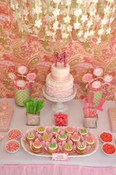 I had trouble deciding if this was better suited for a birthday party or baby shower. I really like the idea for a little girl's birthday, but still think it could be tweaked a little for a baby shower too. Regardless, the whole table setup is fabulous! little girl birthday, little girls, birthday parties, birthday idea, green party, 1st birthdays, parti idea, 1st birthday girl pink green, baby showers
